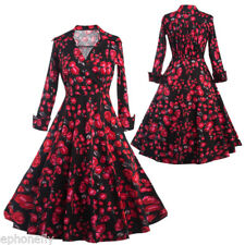 Vintage 50'S 60'S ROCKABILLY DRESS Roses Swing Pinup Housewife Party Dress Gown