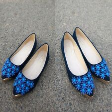 Woman Flats Casual Comfortable Loafers Pointed Toe Floral Flat Shoes