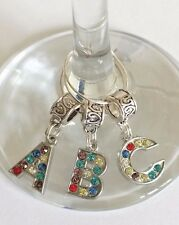 Letter Wine Glass Charms ~ Diamante ~ Party Favors ~ Weddings ~ Christening