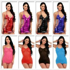 Sexy Women's Lingerie Babydoll Nightwear Caged Back Mini Dress G-String Clubwear