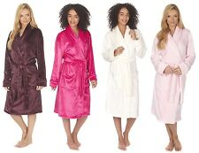 Luxury Womens Super Soft Fleece 3/4 Length Bath Dressing Gown Robe Nightwear