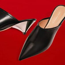 ZARA Black Sheep Leather Mules Slingbacks Metallic Pointed Heels Woman 1225/201
