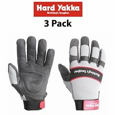 Hard Yakka Gloves *3 PacK* Armorskin Hawk Synthetic Leather Safety Work Y26075