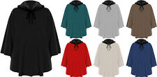 Womens Faux Fur Poncho Cape Top Ladies Collar Tie String Sleeveless Plain 14-32