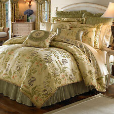 Croscill  Iris Duvet Cover Floral Green Ivory Full Queen King NEW