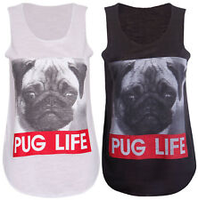 Womens New Dog Pug Life Slogan Print Ladies Stretch Sleeveless T-Shirt Vest Top