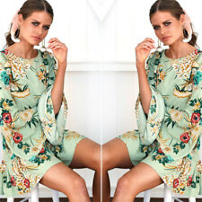 Fahion Women Long Sleeve Evening Party Cocktail Chiffon Floral Print Short Dress
