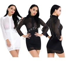 Sexy Womens Long Sleeve Lace Office Formal Evening Club Party Mini Bodycon Dress