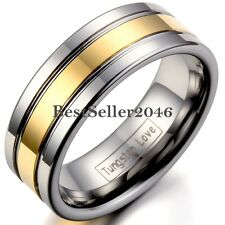8mm Tungsten Carbide Womens Mens Gold Tone Engagement Wedding Band Ring Silver