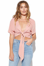 New LUCK & TROUBLE Womens Wrappy Top Pink