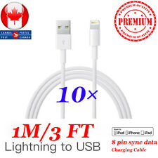 10×New Lightning USB Charging Cable For Apple iPhone 5s,6, 6S, 7,7s Plus 1m/3 Ft