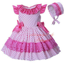 Baby Girl Polka Dot Dress with Bonnet Toddler Kids Pageant Party Wedding Holiday