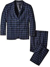 Stacy Adams Men's Big and Tall Slim Fit Metro Vested Plaid Suit
