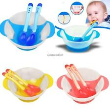 New Baby Kids Child Feeding Bowl Binaural Set with Spoon Fork Feeding GS8D