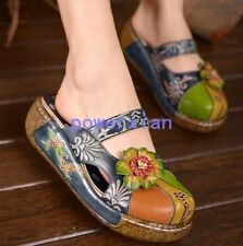 Womens Floral Mules Slides Round Toe Wedge Sandals BOHO Shoes Slipper Summer 9