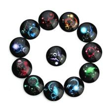 20x 10-25mm 12 Constellations Round Glass Cabochon Flat Back Dome Jewelry Making