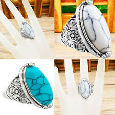 Women Elegant Antique Vintage Tibetan Silver Turquoise Carving Rings Jewelry New