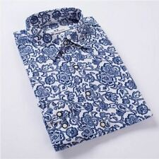 Men Blue Color Turn-down Collar Floral Printed Casual Slim Fit Shirt Size M-4XL