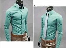 Men Grey Green Color New Style Single Breasted Long Sleeve Slim Casual Shirt