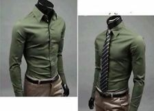 Men Dark Green Color Long Sleeve Slim Casual New Style Single Breasted Shirt