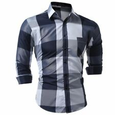 Summer Spring Fashion Long Sleeved Solid Color Casual Slim Fit Shirt For Men