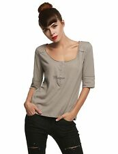 Women Fashion Casual Henley Neck Short Sleeve Solid Basic T-Shirt Top WT8801