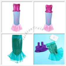Girl Kid Mermaid Fish Tail Skirt Party Fancy Dress Halloween Cosplay Costume 2-8