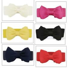 New Fashion Women Bowknot Buckle Waistband Waist Belt Elastic Bow Wide Stretches