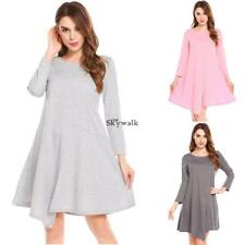 Women Casual O-Neck Long Sleeve A-Line Pleated and Split Hem Sexy Dress SYL6
