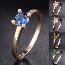 Wedding Womens Yellow Gold Filled Multi-color Crystal Rings Wholesale lot