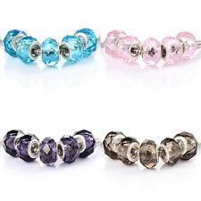 10pcs Silver Plated Charm murano Glass beads European Fit Chain bracelet
