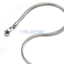 """1.2 - 3.2mm 18"""" inch Silver Stainless Steel Round Snake Necklace Chain Men Women"""