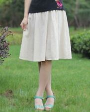 Women Spring Fashion Elastic Waist Cotton Linen Plus Size Pleated Skirt JD0302