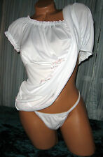 White 2 Piece Babydoll Nightgown & Panty 1X 2X Short Gown Soft