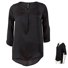 Womens Top Ladies Tunic BLACK 3/4 Sleeve Blouse Long Shirt SATIN Summer 8-16 NEW