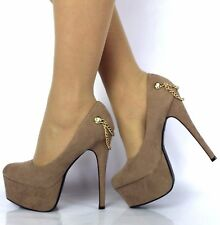 NEW WOMENS LADIES CONCEALED PLATFORM STILETTO HIGH HEELS COURT SHOES SIZE 3-7
