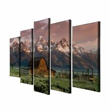 5Pc Barn Teton Rocky Mountains Painting Print Canvas Wall Art Picture Home Décor
