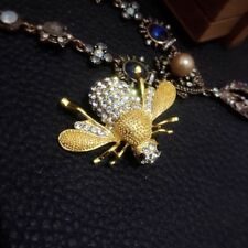 New Fashion Women Enamel Bumble Bee Brooch Rhinestone Insect Pin Gold Beauty