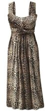 seventh avenue leopard print knotted dress size L maxi cruise party empire waist