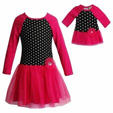 """Girl 4-14 and 18"""" Doll Matching Pink Mesh Black Heart Dress fit American Girl"""