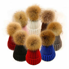 Faux Fur Pom Knitted Beanie Hat Winter Warm Cap Wooly Unisex Mens Ladies Ski Hat