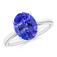 Natural Solitaire Oval Tanzanite Cocktail Ring White Gold/ Platinum Size 3-13