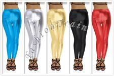Sissy Sexy Women Leather Leggings Wetlook Shiny Pants Stretchy Trouser Club Wear