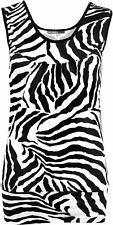 New Womens Zebra Black White Short Animal Print Vest Ladies Sleeveless Top