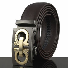 Brown Fashion Casual Genuine Leather Mens Belt Automatic Buckle Waistband Strap