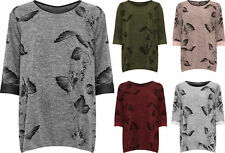 Plus Womens Knitted Floral Print Flared Hanky Hem Swing Long Sleeve Ladies Top