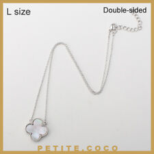 """Handmade 0.8"""" mother of pearl four leaf clover silver necklace"""