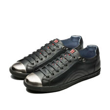 OPP Men's Full Grain Leather Lace-Up Metal Toe Casual Shoes Black