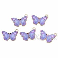 Purple Butterfly 20mm Wholesale Gold Plated Enamel Charms C2589 - 2, 5 Or 10PCs