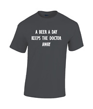 A Beer a Day keeps the doctor away Funny cotton T-shirt black